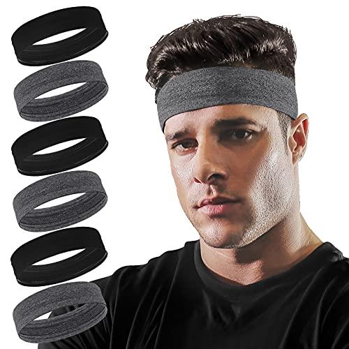 Vsiopy 6 Pack Running Headband for Men Non Slip Workout Sweatbands Adjustable Sports Headbands Moisture Wicking Workout Headbands
