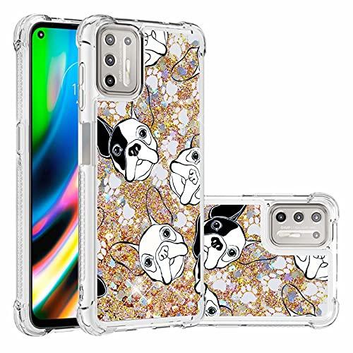 Ttimao Compatible con Funda Motorola Moto G9 Plus Flotante Glitter Brillante Liquid...