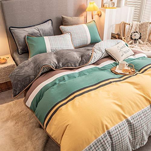 juego de funda de edredón doble-Algodón de franela de invierno más terciopelo ab side funda de edredón individual ropa de cama terciopelo de leche cama individual funda de almohada individual regalo-
