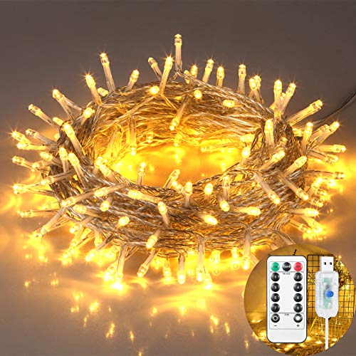 Indoor String Lights, Christmas Decorations Lights, 200 LEDs, 65.6ft, USB Powered Warm Dimmable Copper Wire Lights, Remote Control, 8 Lighting Modes, for Rooms, Christmas, Parties, Weddings, Etc.