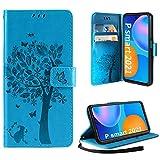 AROYI Hülle Kompatibel mit Huawei P Smart 2021 Lederhülle, PU Leder Flip Tasche Handyhülle mit [Kartenfach] [Magnetverschluss] Standfunktion Brieftasche Handy Schutzhülle, Blau