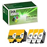 Limeink 5 Pack Remanufactured 30XL Ink Cartridges (3 Black, 2 Color) Use Replacement for ESP: 3.2, C110, C310, C315, Office 2150, Office 2170, Hero 3.1 Hero 5.1 Series Printers 1550532 1341080