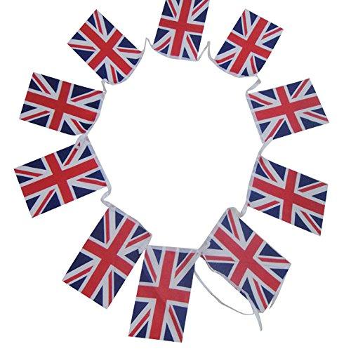 G2PLU UK England Flagge Wimpelkette, Britische Flagge Banner Pennant, die Großbritannien Nation Flagge 11Meter mit 40Anhänger, United Kingdom