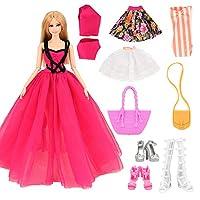 バービー用ドレス バービー用服 人形用 手作り 着せ替え 8枚セット=3枚ドレス+3ペア靴+2個バック EU CE-EN71認証