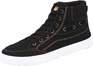Yong Ding Men Casual Plimsolls Simple Style High Top Canvas Shoes with Shoelaces Closure for Leisure Time 7.5US Black