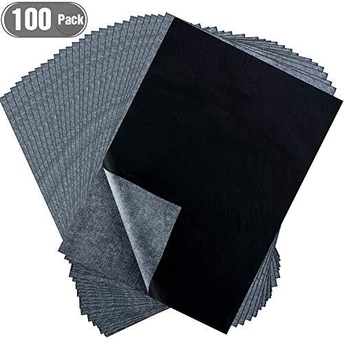 Hotop 100 Blatt Carbon Transferpapier, schwarzes Transparentpapier für Holz, Papier, Leinwand und andere Kunstoberflächen 8.5 x 11 Inch