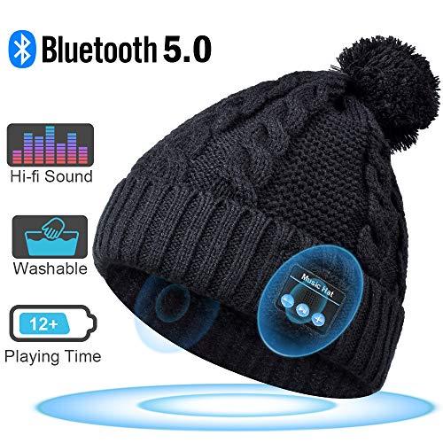 HANPURE Bluetooth Mütze Damen, Bluetooth kopfhörern Strickmütze, Geschenke für Frauen, Pom Pom Mütze mit Bluetooth Lautsprechern, Musik Beanie Mütze mit drahtlosen Kopfhörern,Geschenke für Mädchen