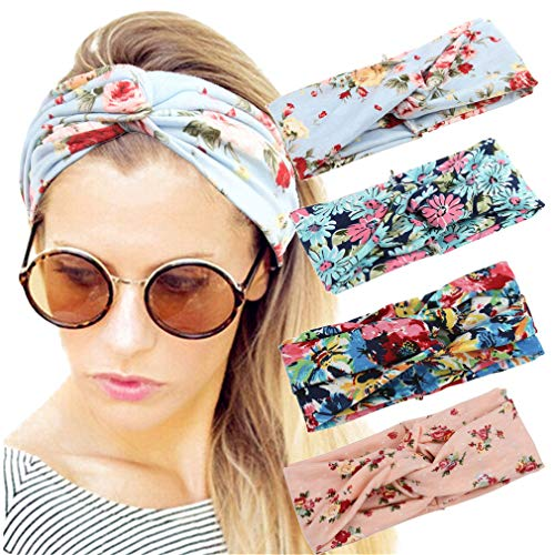 4 Pack Women Headband Boho Floal St…