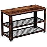 Rolanstar Shoe Bench, Sturdy 3-Tier Shoe Rack Bench with Stable Metal Frame, Rustic Storage Bench with Mesh Shelves for Entryway, Mudroom 28.7'
