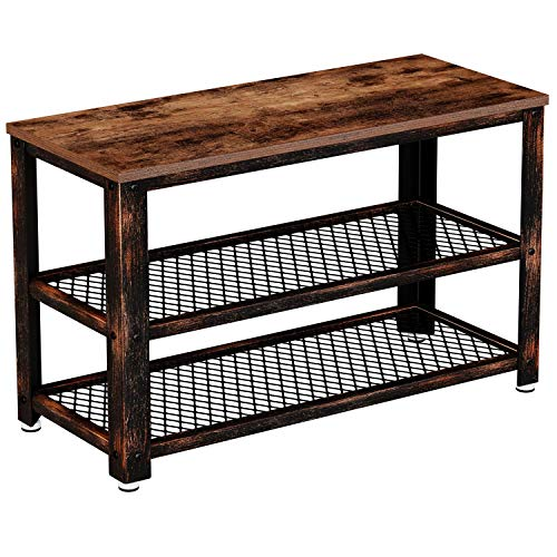 Rolanstar Shoe Bench Sturdy Shoe Rack Bench with Mesh Shelves Rustic Storage Bench with Stable Metal Frame for Entryway Mudroom 287quot