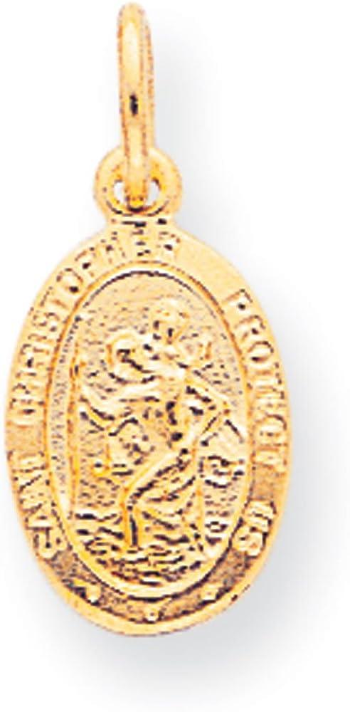 Qgold 10K Gold St. Christopher Medal Charm Pendant