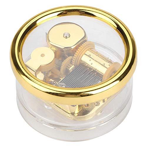 HERCHR Caja Musical de acrílico Transparente, Caja de música Redonda a Cuerda para Regalo de cumpleaños de Navidad de San Valentín de Boda(Love Story)
