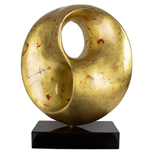 mosa designs XL Skulptur Gold Handarbeit Dekoration Figur Statue Kunst Modern Kunststein
