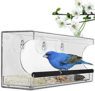 Acrylic Glass Bird Feeder Set, Spill-Proof, Crystal Clear - Easy to Install with 2 Hooks, Economical, Perch Provides Enjoyable Eating time to Finch, Parakeet, Sparrows, Cage Sizes