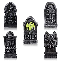Image: 5 PCS Halloween Foam Tombstone with Metal Stakes Creepy Halloween Gravestones for Garden Graveyard Decoration | Brand: TOYANDONA