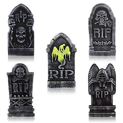 """TOYANDONA 5 Piezas de lápidas de Espuma, 15"""", decoración Liviana de Piedra Rip para Tumba, Decoraciones de jardín de casa embrujada de Fiesta de Halloween al Aire Libre"""