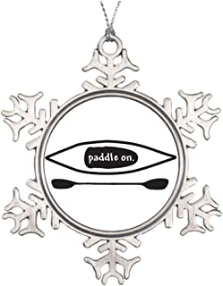 Larmai Kayak and Paddle Simple Black Line Art Design for Sale Boating Funny Holiday Crafts Snowflake Ornaments Home Christmas Tree Decor