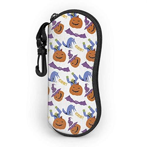 GOSMAO Funda Gafas Linterna de calabaza de sonrisa de Halloween Neopreno Estuche Ligero con Cremallera Suave Gafas Almacenaje