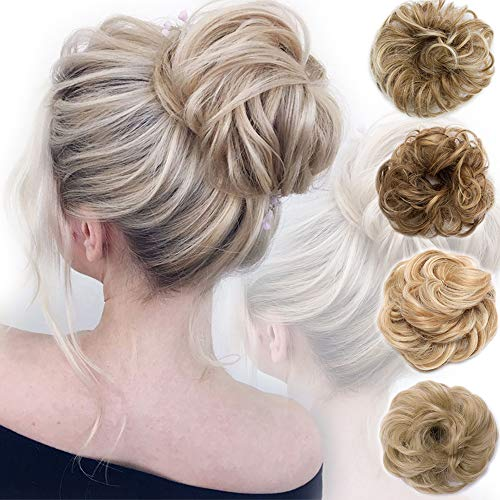 Messy Bun Hair Piece Scrunchy Updo Hair Pieces for Women Fluffy Wavy Hair Bun Scrunchies Donut Hairpiece Synthetic Chignons With Elastic Rubber Band Light Brown & Ash Blonde 1 pc