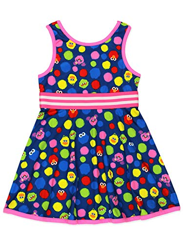 Isaac Mizrahi Loves Sesame Street Elmo Baby Toddler Fit and Flare Soft Dress (2T, Toddler Multicolor)
