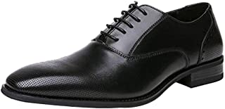 GYUANLAI Men's Leather Shoes Oxford Black Plain Dress With Comfortable and Breathable Formal Business Shoes