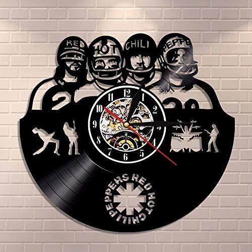 Qazqian Reloj de Pared Vinilo Red Hot Chili Peppers Forma un Reloj de Pared con Registro de Vinilo Adecuado para Sala de Estar, Pasillo, Dormitorio, baño 12 Pulgadas