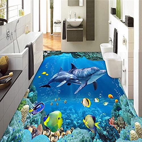 Papel de pared fotográfico personalizado 3D Estéreo Mundo submarino Delfines Azulejos de suelo 3D Murales Baño Sala de estar Fondos de pantalla de PVC a prueba de agua-350x245cm