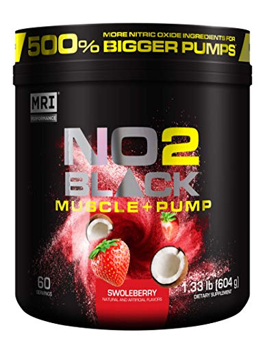 MRI NO2 Black Nitric Oxide Supplement for Pump, Muscle Growth, Vascularity & Energy - Powerful NO Booster Pre-Workout with Citrulline + 60 Servings (Swoleberry)
