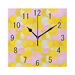 GULTMEE Square Wall Clock Home Decorative Clocks,Grey Yellow, Artwork of Abstract Straight Line Segments Strokes in Colorful Art,Pink Yellow Pale Grey,7.8×7.8