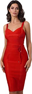 Maketina Women's Spaghetti Strap Bodycon Party Bandage Dress with Belt Detail Red XL