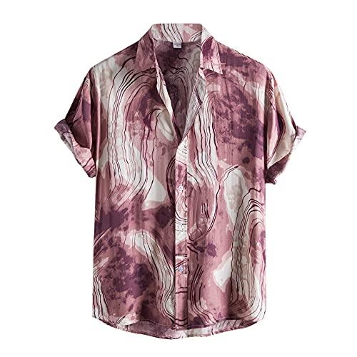 Short sleeve shirts men's casual print button shirt turn-down collar basic tee blouse V neck summer top - Red - XL
