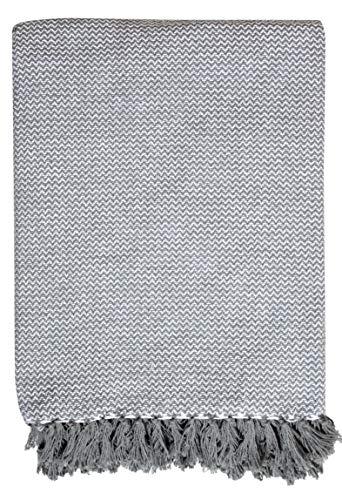 EHC Wave Large 100% Cotton Sofa Armchair Bed Blanket Throw, 150 x 200 cm - Grey