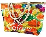 MASMAS Bolsa de Playa Grande, Bolso Hombro Mujer Playero Viajes, Compras con Cremallera Asas y Cuerda, Tejidos y Artesanales Bicolor Hermosos Diseños Variados (5448 Festival of colors)