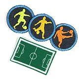 Bügelbilder Paket Aufbügler Junge 4 Flicken Set Bügelflicken ø 5cm Fußballer Fußballplatz 4,7 x 7 cm klein zum aufbügeln für Kinder und Erwachsene