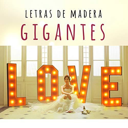 Letras de madera grandes 100cm, letras de madera gigantes, letras LOVE, luminosas, bodas