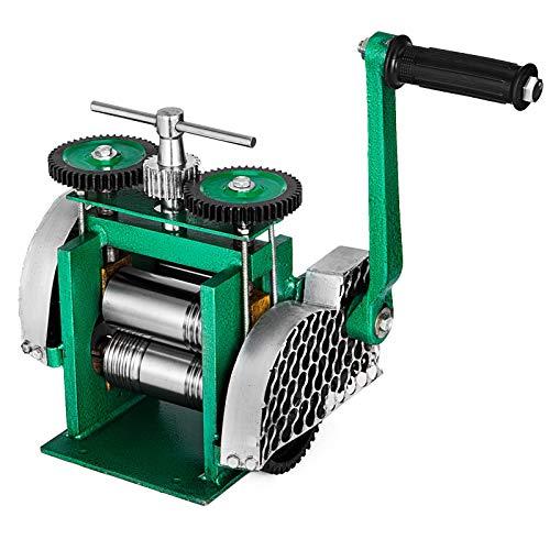 VEVOR Máquina de Laminación Combinada, Laminador Joyería 85 mm Anchura de Rodillo Duradero, Laminadora Manual Herramienta para Hacer Tabletas de Bricolaje Ajustable Apertura de 0-5 mm (120 x 55 mm)