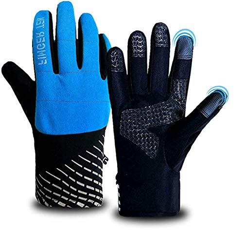 Amrta Guanti Invernali Uomo Donna Touchscreen Addensare luce Sciare Ciclismo Jogging Calcio Alpinismo Equitazione Outdoor Sport Stai al Caldo Vento (Blu, S)