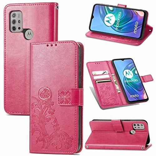 JIUNINE Hülle für Motorola Moto G30 / G20 / G10, Handyhülle Leder Flip Hülle mit Glücksklee Muster [Kartenfach] [Magnetverschluss] Schutzhülle Tasche Cover Lederhülle für Moto G30 / G20, Rot