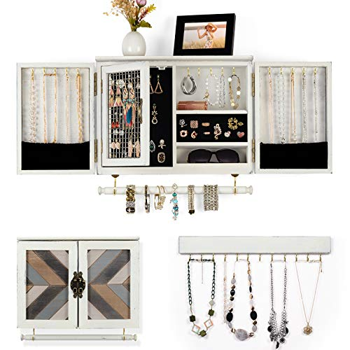 Rustic Jewelry Organizer Wall Mounted Jewelry Holder with Wooden Barn Door for Necklaces Earrings Bracelets Ring Holder, with Removable Bracelet Rod Includes Hook Organizer for Hanging Jewelry White