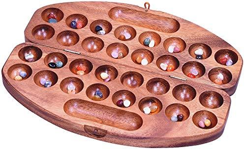 LOGOPLAY Bao Gr. L rund für 2 Spieler - Spielfeld 29 x 35 cm oval - Hus - Kalaha - Edelsteinspiel - Steinchenspiel - Bohnenspiel - Muschelspiel - aus Samena-Holz inkl. 75 Edelsteinen