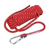 12mm Kletterseil mit Karabiner Sicherheitsseil Dauerhaft Survival Seil für Outdoor Aktivitäten (Rot 10m)