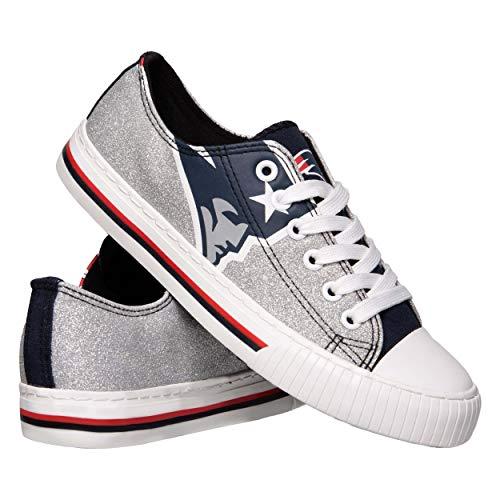 NFL New England Patriots Womens Ladies Glitter Low Top Canvas Sneaker Shoesladies Glitter Low Top Canvas Sneaker Shoes, Team Color, 7/Medium