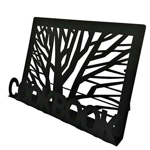 Cookbook Holder Recipe Book Stand - Black Metal - Tree design