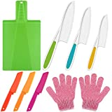 Kitchen Knife and Foldable Cutting Board Set Including 6 Pieces Kids Cooking Knives Fruit Cake Bread Lettuce Knife Salad Knife, Foldable Cutting Board and Gloves for Kids