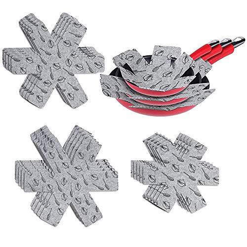 Beenle-Icey Juego de 15 protectores de ollas y sartenes, separador de tejido...