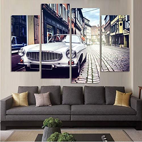 UDPBH 4 paneel White Stree View Wall Art Picture Home Decoration Living Room Canvas Print Schilderij Muur Bedrukken Op Doek
