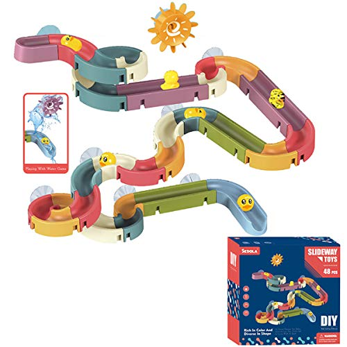 Bath Toys Baby Bathtub Toys Water Slide Track Summer Children Bathtub Toy DIY Waterfall Pipe and Tubes Tub Toys Track Bath Toys With Suction Cups Gift for Kids Boys Girls Age 3 4 5 6 7 Years Old