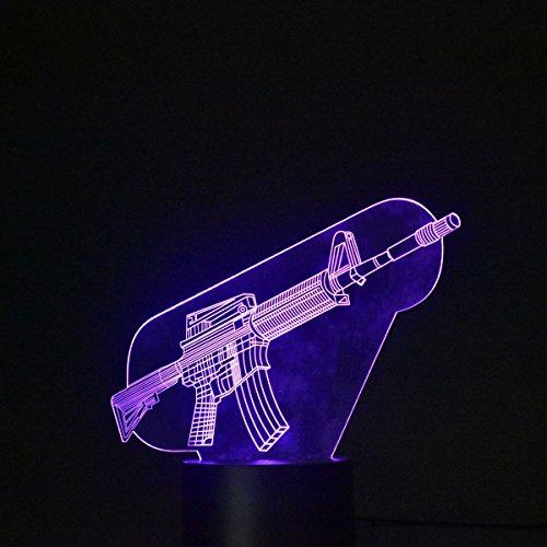 3D Optische Täuschung Lampe Touch LED Tisch Schreibtischlampe 7 Farbwechsel USB Ladegerät Powered Touch Schalter Schreibtisch Nachtlicht für Geschenk(Maschinengewehr)