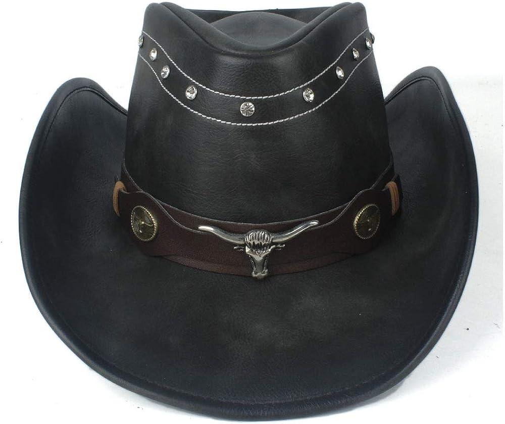 100% Leather Cowboy Hat With Roll Popular standard Belt trust Brim Sombrer Up Jazz Punk
