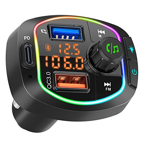 Orikgher Bluetooth FM Transmitter for Car, BT V5.0 Radio Adapter, 36W PD & QC3.0 Smart Charger, Hands-Free Call Kit, Battery Voltage Monitor, LED Backlit, Siri Google Assistant, Support U Disk TF Card